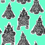 Pack of dogs seamless pattern (vector version)