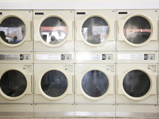 dryers in a laundromat