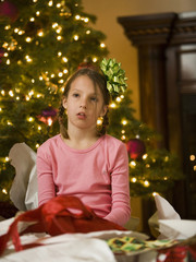 girl at christmas worn out