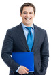 Businessman with blue folder, isolated