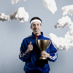 jogger holding a trophy