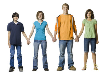 group of teenagers holding hands