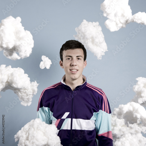 man in a purple track jacket