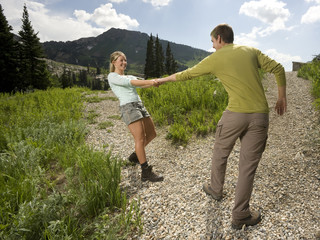 young couple on a hiking trip