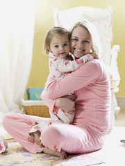 mother and daughter in pajamas