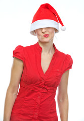Thoughtful young woman with Christmas hat over eyes