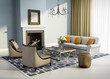 Blue interior fireplace modern atmospheric lounge living room