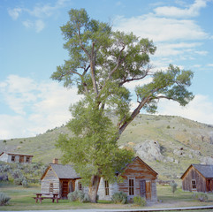 """USA, Montana, Bannack, Landscape with wooden houses"""