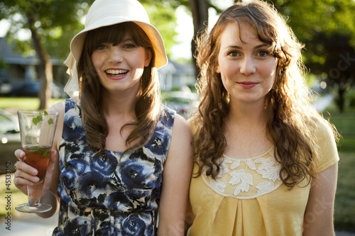 """USA, Utah, Orem, Portrait of two women smiling"""