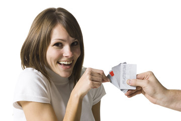 woman choosing a credit card