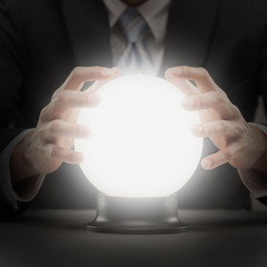 businessman with crystal ball