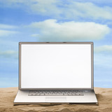 laptop in the sand