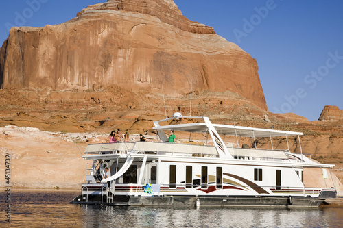 people on a houseboat on lake powell