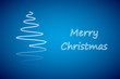 White christmas tree, new year card, blue background