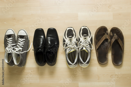 four pairs of shoes