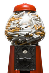 gumball machine full of cigarettes