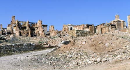 Belchite village destroyed in a bombing
