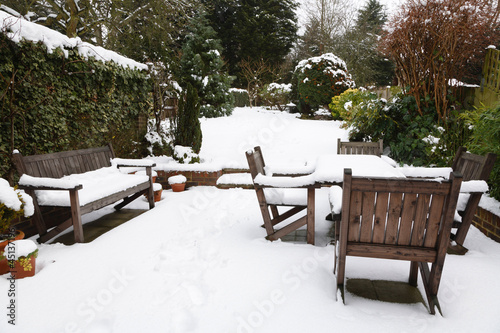 Winter patio and garden