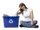 woman with a recycling bin