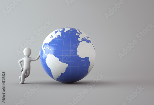 character with blue globe