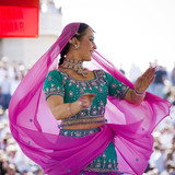 USA,Utah,Spanish Fork,Mid adult woman dancing in sari