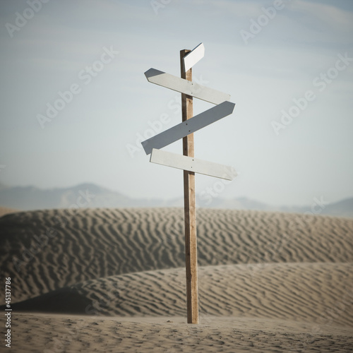 USA,Utah,Little Sahara,signpost in desert