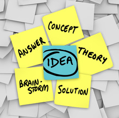 Idea Words Yellow Sticky Notes Brainstorm Solution