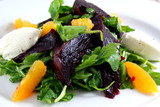 Beet salad with arugula, orange, roasted beets