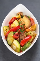 Ratatouille made of eggplant, zucchini, tomato and pepper