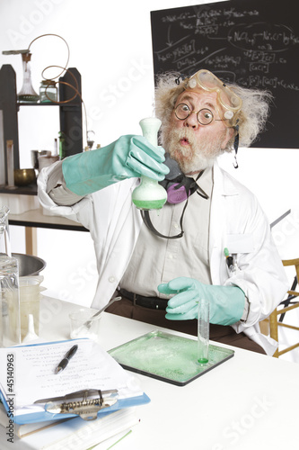 Amazed senior scientist reacts to  chemistry experiment