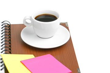 cup of coffee and office supplies