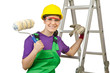 Woman worker with ladder on white
