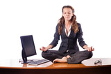 Woman meditating on the desk