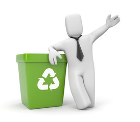 Businessman with recycling bin