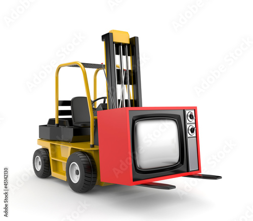 Forklift with TV