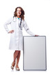 Woman doctor with blank board