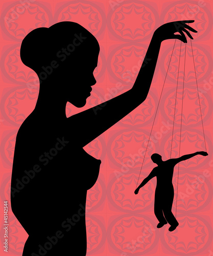 silhouette of a naked woman holding a man-puppet