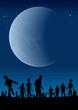 Graveyard zombies under half moon