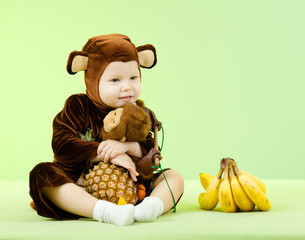 Baby girl in monkey costume