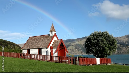 Maori church under the rainbow in Akaroa, New Zealand