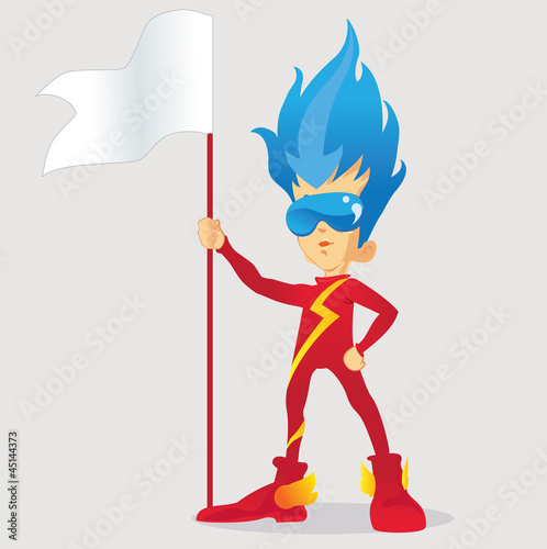 young superheroes with flag