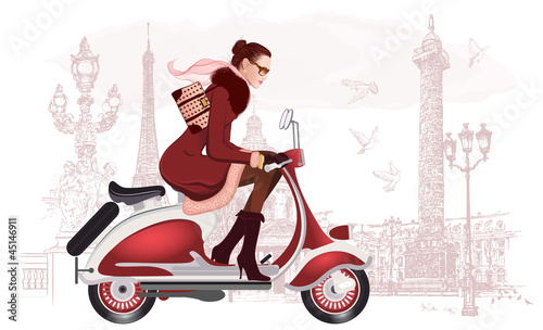 woman riding a scooter