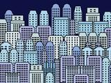 City illustration - skyscraper metropolis vector poster