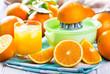 fresh oranges with juice