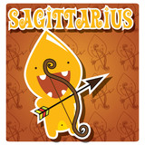 Zodica sign Sagittarius with cute colorful monster, vector