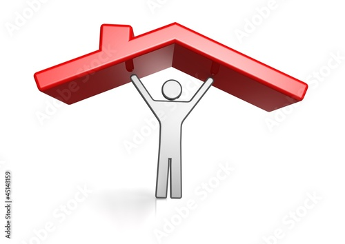 Man and housing roof