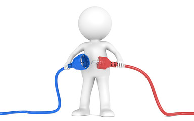 3D little human character holding blue and red Power Cable.