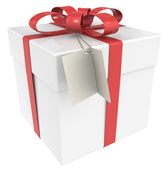 Gift Box. Gift Box with Tag, Isolated.