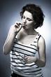 Female marijuana smoker