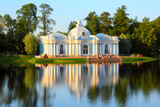 pavilion on lake in Pushkin park St. Petersburg